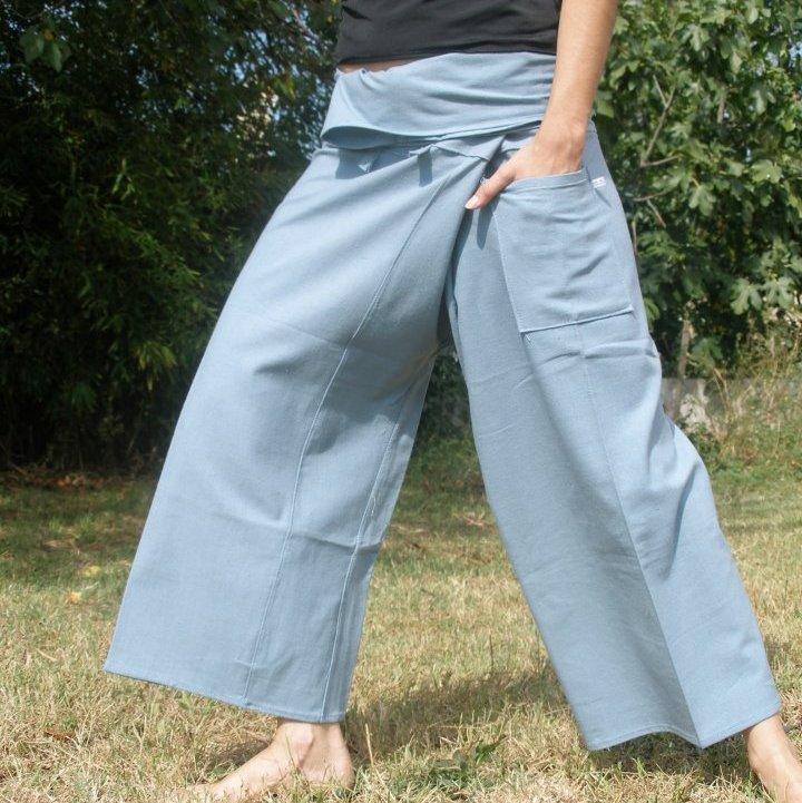 pantalon thai bleu gris
