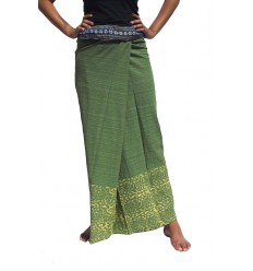 Long Wrap Thai Skirt - Khaki