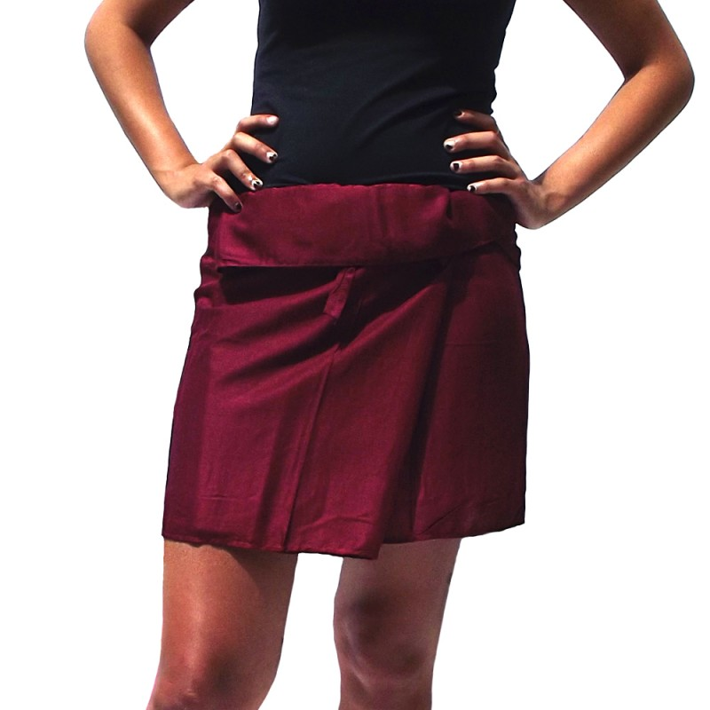 Burgundy Thai Rayon short skirt