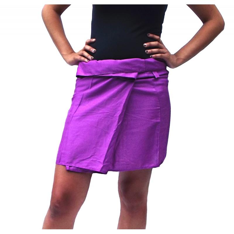 Rayon Short Thai Skirt - Burgundy