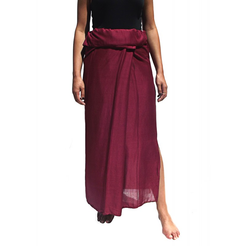 jupe thaïe rayonne bordeaux