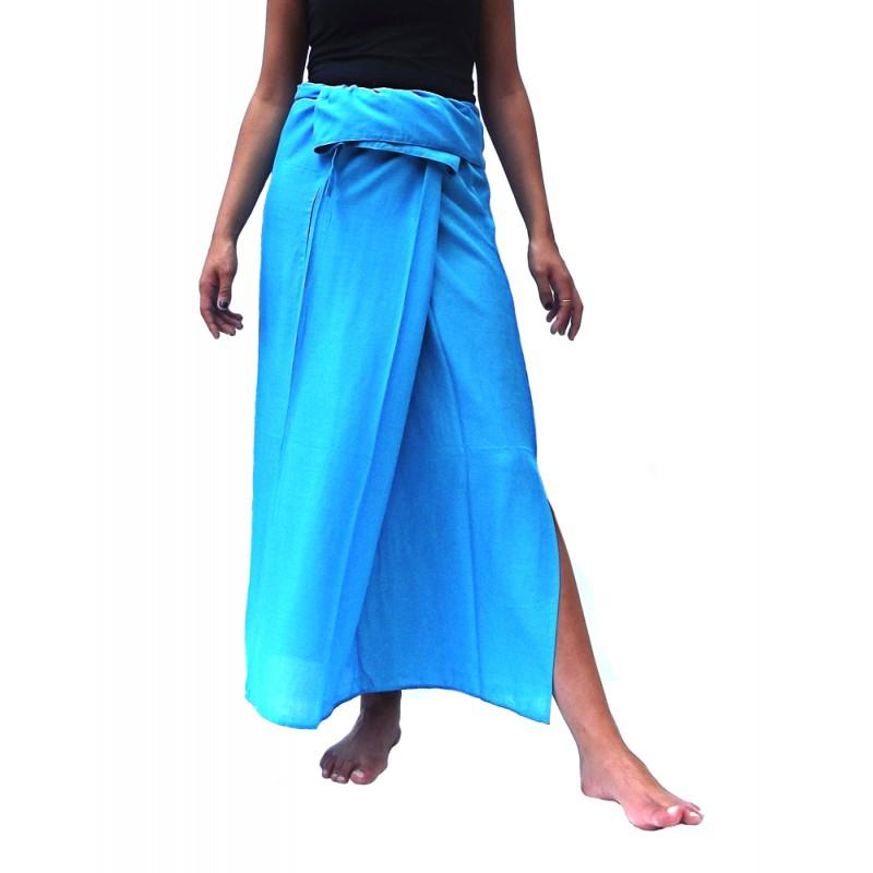 Falda Tailandesa Rayon Azul Cielo