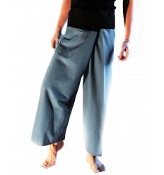 Pantalon Thaï Bicolore Bleu Gris et Noir