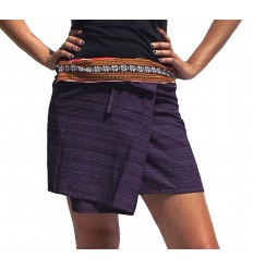purple mini wrap printed thai skirt