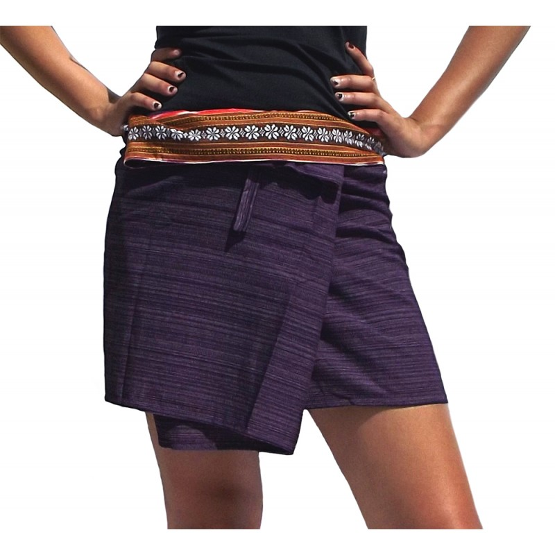 Jupe Thaie courte imprimée violet ARASIA