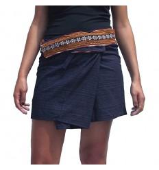 Mini Wrap Thai Skirt - Dark Blue