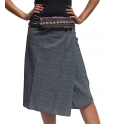 Short Wrap Thai Skirt - Grey