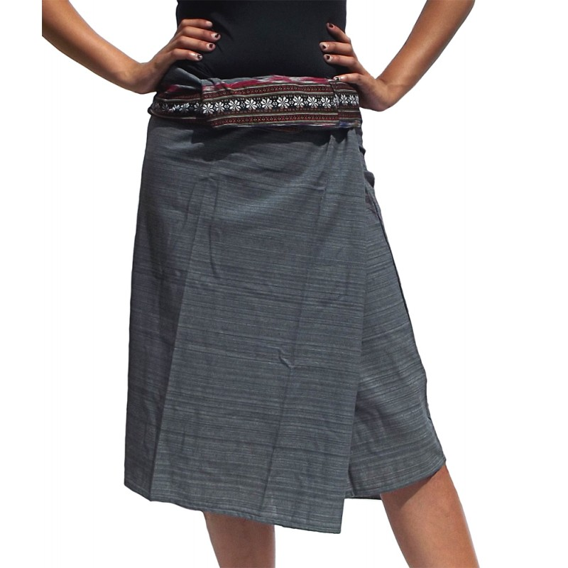 short grey wrap thai skirt
