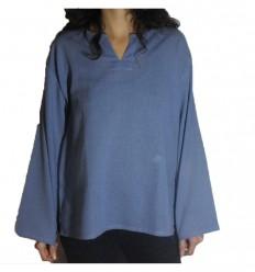Chemise Coton Fin légère bleu gris