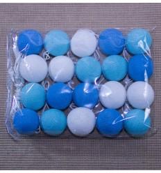 Lampara bolas de algodon azul