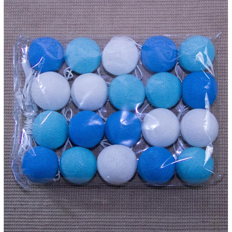 Lampe Boules de Coton Bleue