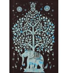 Tenture elephant bleue