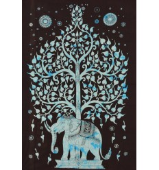 Tenture murale elephant bleue