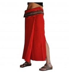 Plain Long Wrap Thaï Skirt - Red