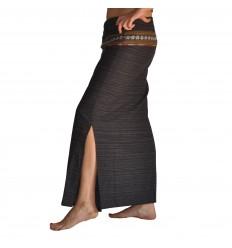Long Wrap Thai Skirt - Black