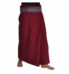 Plain Long Wrap Thaï Skirt - Burgundy