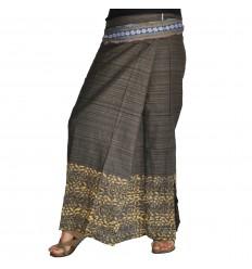 Long Wrap Thai Skirt - Dark Brown