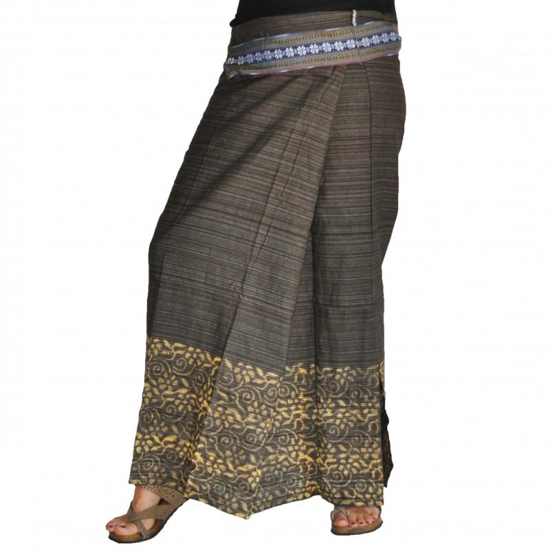 Long Wrap Thai Skirt - Khaki