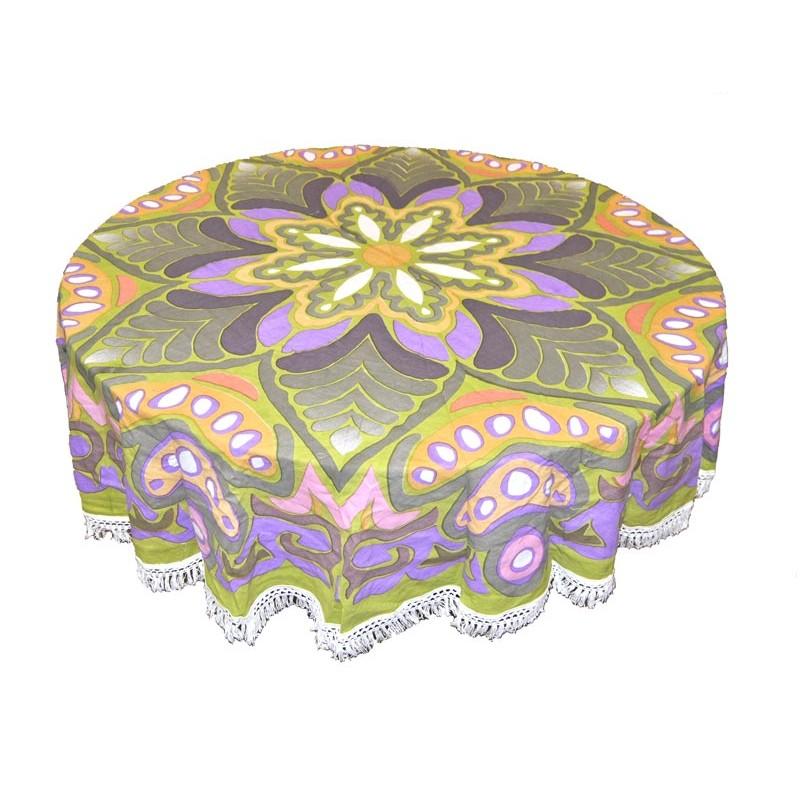 tapiz redondo verde y violeta