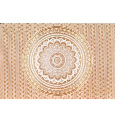 white and brown mandala hanging