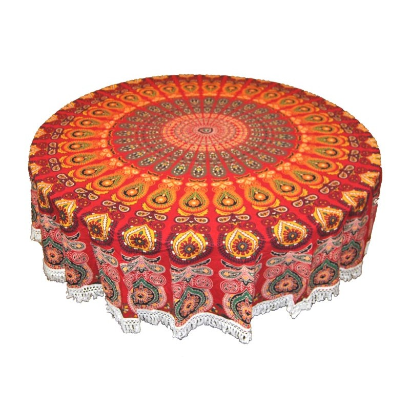 Red round tapestry