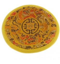 alfombra de cuenco tibetano amarillo