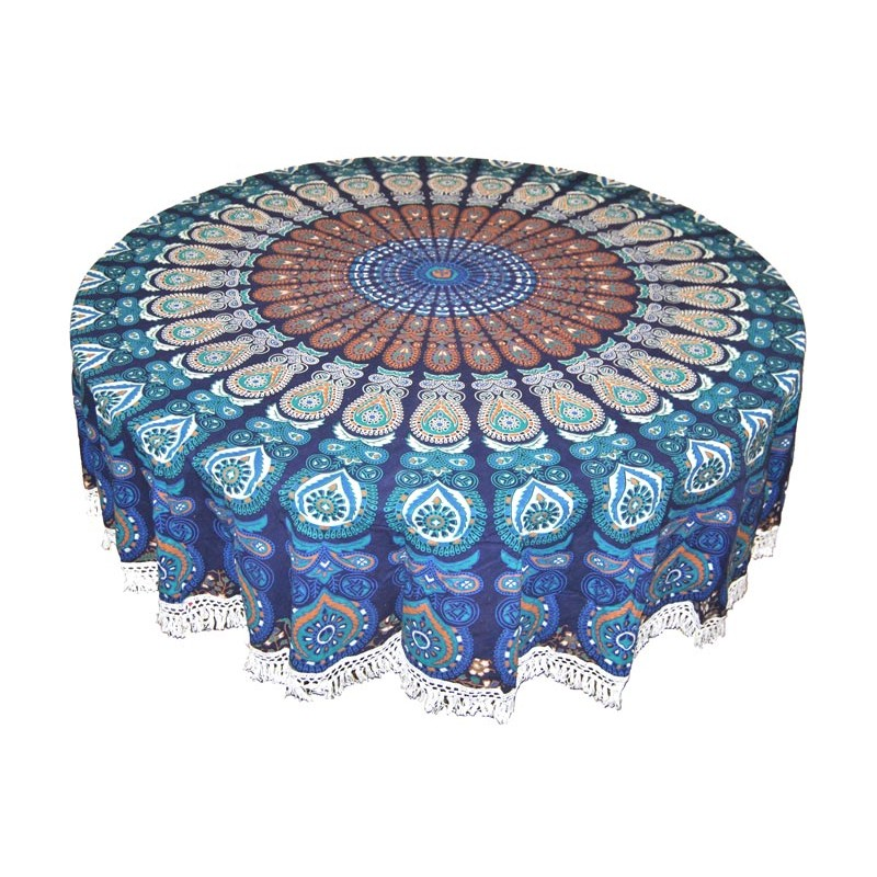 Blue Round Tapestry
