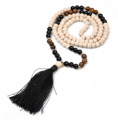 WOOD AND TIGER EYE MALA