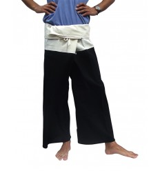 black and cream Fisherman Pants