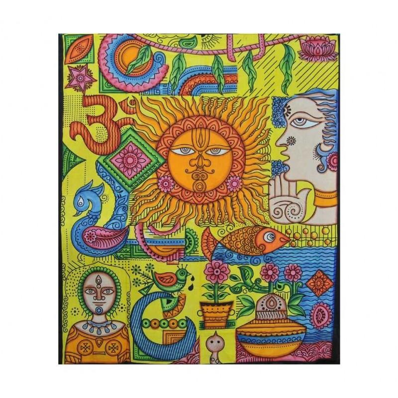 Tenture Murale Soleil Multicolore