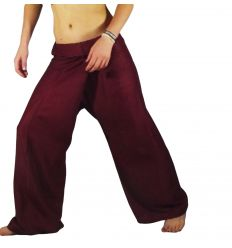 Burgundy Rayon Fisherman Pants