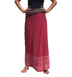 Long wrap Thai Skirt - Burgundy