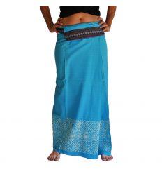 Falda Tailandesa Larga Estampada Azul Cielo