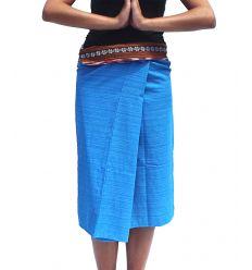 Short Wrap Thai Skirt - Sky Blue