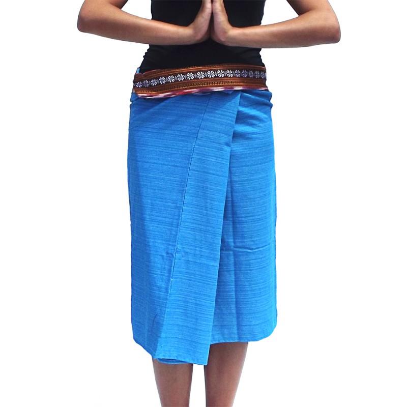 Short Wrap Thai Skirt - Grey
