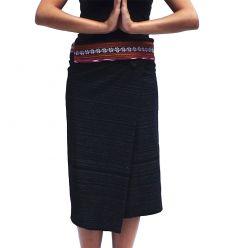 Short Wrap Thai Skirt - Black