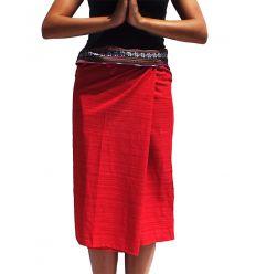 Short Wrap Thai Skirt - Red