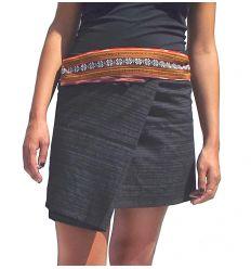 Mini Wrap Thai Skirt - Black