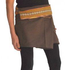 Mini Wrap Thai Skirt - Dark Brown