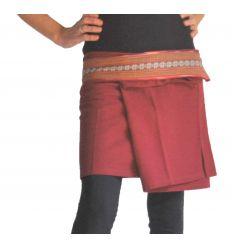 Mini Wrap Thai Skirt - Burgundy