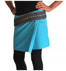 Mini Wrap Thai Skirt - Sky Blue