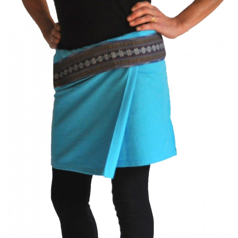 Mini Wrap Thai Skirt - Purple
