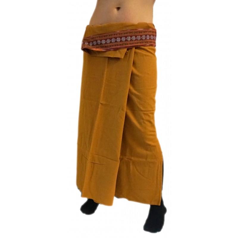 Plain Long Wrap Thaï Skirt - Dark Brown