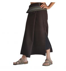 Plain Long Wrap Thaï Skirt - Dark Brown