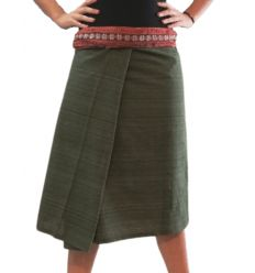 Short Wrap Thai Skirt - Khaki