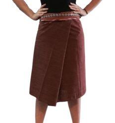 Short Wrap Thai Skirt - Dark Brown