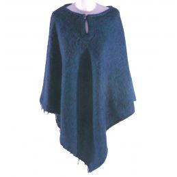 Blue Wool Poncho