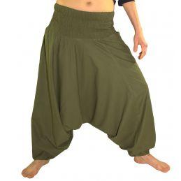 Army Green Aladdin Pants for Woman