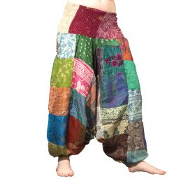 Silk Patchwork Harem Pants