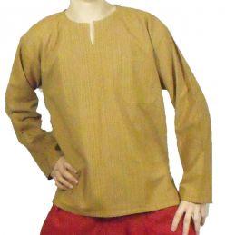 Camisa de Algodón Crema a Rayas